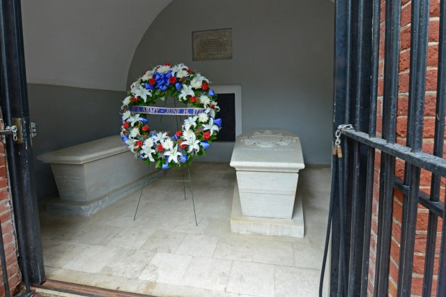 A wreath commemorating the Army's 238th birthday rests in the tomb of the service's first general and later the country's first president, George Washington, June 10, 2013. Washington also created the nation's first version of the Purple Heart, the Badge of Military Merit, which he presented to three enlisted Soldiers on Aug. 7, 1782.