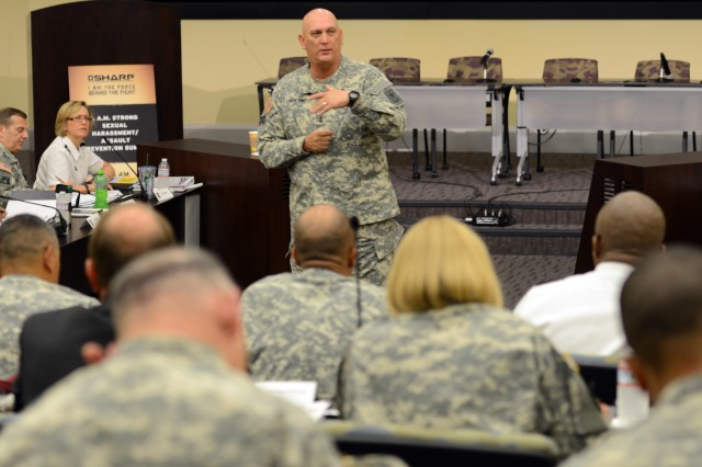 Army Chief of Staff Gen. Ray Odierno addresses general officers and other Army leaders at a conference on the Army's Sexual Harassment/Assault Response and Prevention program, June 10, 2013, at Joint Base Andrews, Md.