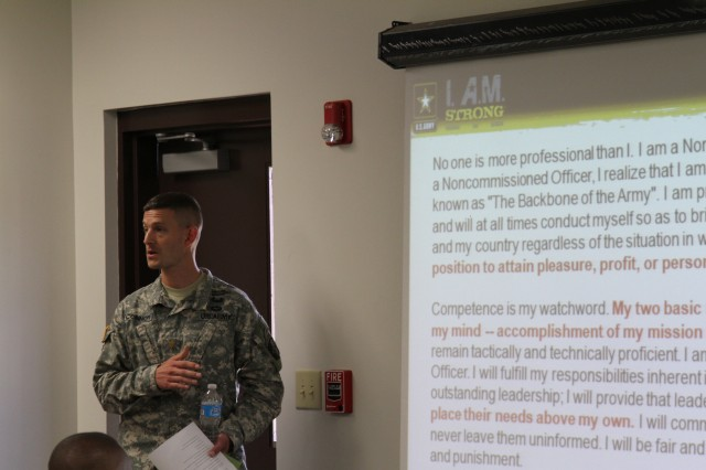 Maj. Jeremiah S. O'Connor, the rear detachment commander of the 101st Special Troops Battalion, 101st Sustainment Brigade, 101st Airborne Division (Air Assault), trains leaders in the battalion on how to recognize Soldier who would commit sexual assault and how to handle situations where a sexual assault may have occurred June 5, at Fort Campbell. He reiterated that there is zero tolerance for Soldiers who would prey on others, leaders need to recognize them, and separate them from our ranks as quickly as possible. (U.S. Army photo by Sgt. Leejay Lockhart, 101st Sustainment Brigade Public Affairs)