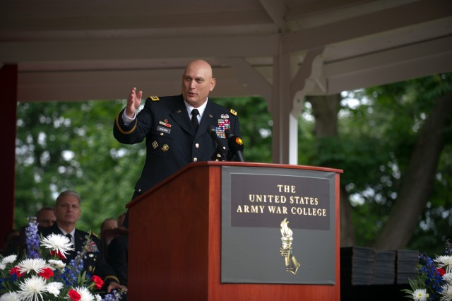 U.S. Army Chief of Staff Gen. Ray Odierno gives his remarks as the guest speaker for class of 2013 graduation ceremony at the Army War College in Carlisle Barracks, Pa. June 8, 2013. (U.S. Army photo by Staff Sgt. Teddy Wade/ Released)
