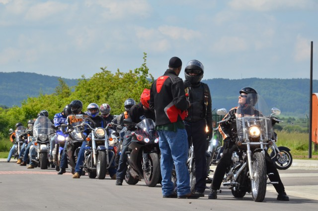 Motorcyclists line up in preparation to depart Storck Barracks, U.S. Army Garrison Ansbach, during a motorcycle safety rally to Geiselwind, Germany, June 7. USAG Ansbach riders would meet motorcyclists from USAG Bamberg and Schweinfurt during the Franconia Military Community event.