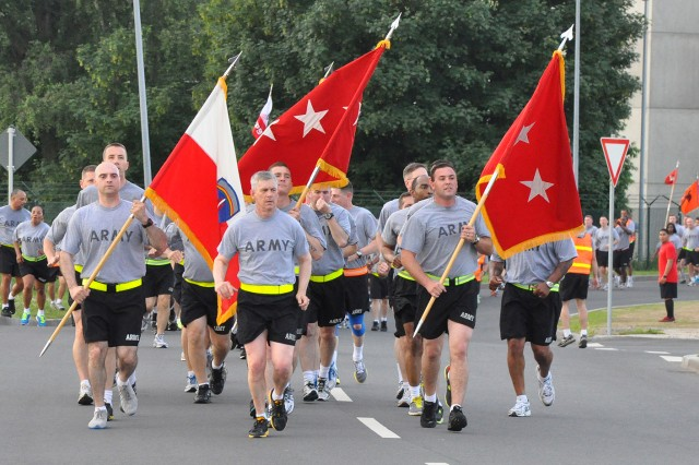 Lt. Gen. Donald Campbell Jr., U.S. Army Europe commander, leads USAREUR and fellow Wiesbaden military community service members in an early morning run on Clay Kaserne June 13 in celebration of the Army's 238th Birthday.