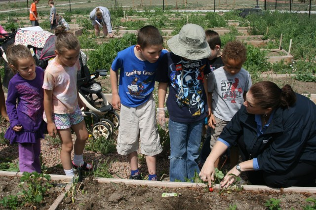 FORT CARSON, Colo. -- Children look on as Kris Spiller, LifeWorks coordi­nator for Balfour Beatty Communities, points out a straw­berry growing from last year's garden at the Grow with Me Garden event June 7.