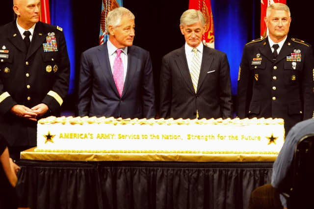Senior defense leaders and Soldiers, including (from left) Chief of Staff of the Army Gen. Ray Odierno, Secretary of Defense Chuck Hagel, Secretary of the Army John McHugh, and Sgt. Maj. of the Army Raymond F. Chandler III, cut a birthday cake, June 13, 2013, at the Pentagon, as part of the Army's 238th birthday celebration.