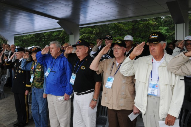 Korean War veterans, accompanied by Maj. Gen. Bernard S. Champoux, the prospective Eighth Army commanding general, attended the inaugural ceremony to mark the 60th anniversary of the Nevada Outposts Battle, in Yangju, May 28.