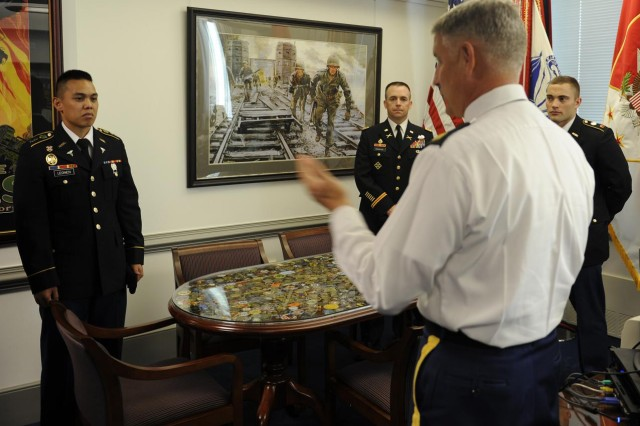 Sgt. Maj. of the Army Raymond Chandler III mentors future officers