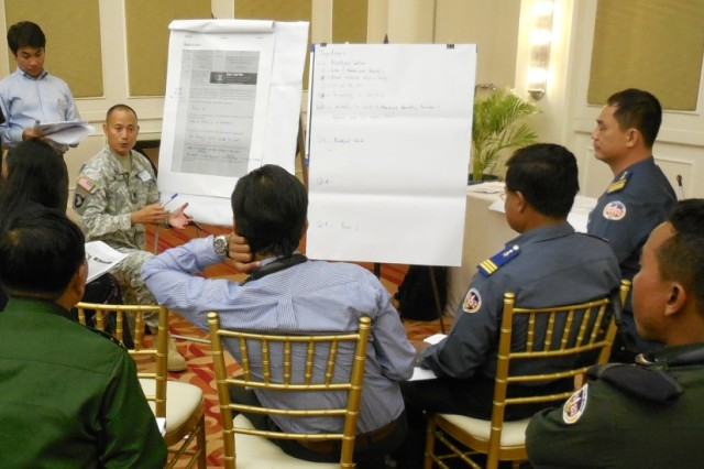 Lt. Col.  Evan Ting, who is the Deputy Division Engineer for South Southeast Asia at the U.S. Army Corps of Engineers-Pacific Ocean Division, facilitates a work group during the 2013 Lower Mekong Initiative Disaster Response Exercise & Exchange in Phnom Penh, Cambodia.