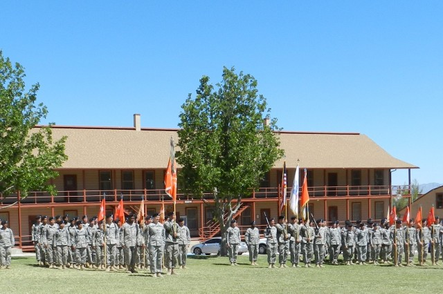 Posing at the same place, the 11th Signal Brigade is lined up for inspection. Headquarters and Headquarters Company practice for their change of command and colors casing ceremonies.