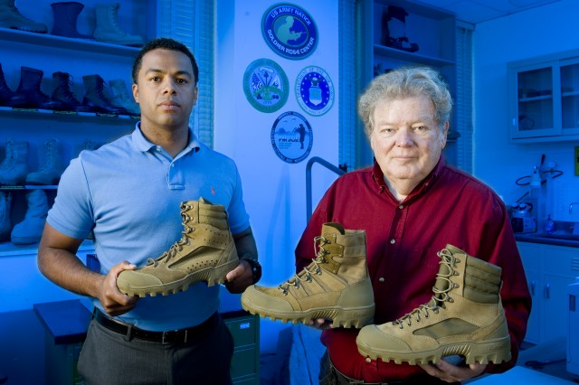 Ben Cooper (left) and Bob Hall have been working on the development of phase two of the Hot Weather Mountain Combat Boot at Natick Soldier Research, Development and Engineering Center, Mass.