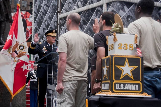Vice Chief of Staff of the Army Gen. John F. Campbell hosted the 238th Army Birthday cake-cutting ceremony in Times Square, in New York City, June 14, 2013. As part of the celebration, Campbell conducted a swearing-in ceremony for future Soldiers.