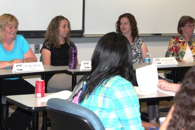 ECBC Supervisory Chemist Mary McNally, ECBC Research Biologist Jody Gostomski, PEO-C3T Assistant Program Manager Lauren McNew and ECBC Director of Program Integration Suzanne Milchling (from left to right) share insights about careers in the defense community during a panel discussion at Project DREAM Work's Girls STEM Discovery Day.