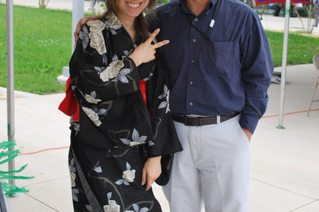 "Shauna Mintz and Dr. Michael ""Chi-Yu"" Shiao both from ARL's Vehicle Technology Directorate, Mechanics Division, pose for a photo at the Asian American and Pacific Islander Heritage Month ceremony. Mintz hosted the ""Japan Table."""