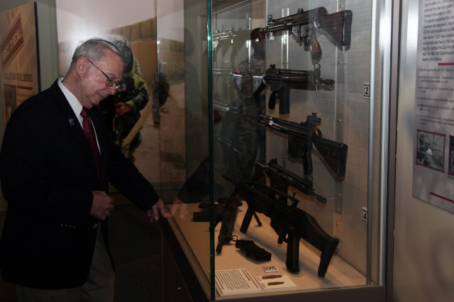 One of the displays in the new ordnance exhibit 'Subject to Recall: Collecting Intelligence' is a historical look at the evolution of the Heckler and Koch military rifle line. The display can be viewed for the next year at the U.S. Army Quartermaster Museum.
