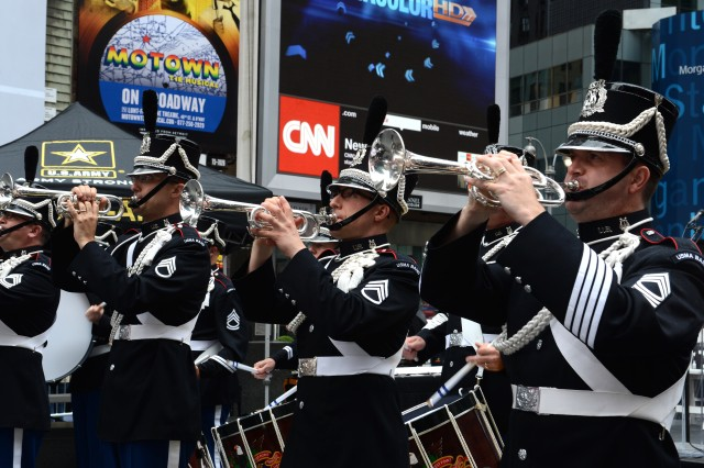 Members of the U.S. Military Academy Band perform during the 238th Army Birthday celebration in Times Square, New York City, June 14, 2013.