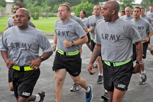 FORT SAM HOUSTON, Texas - Soldiers demonstrate readiness by calling cadence during the U.S. Army North-led 'Thunder Run' June 14 in celebration of the Army's 238th Birthday. The Army team at Fort Sam Houston participated in the event, which began and ended at the historic Quadrangle.