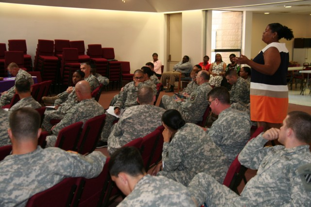Yadira Shields, FA program Specialist talks to Chaplains and Chaplain's assistants June 13 at Victory Chapel on Fort Stewart regarding assistance to victims of Sexual Assault, Domestic Violence and Child abuse.