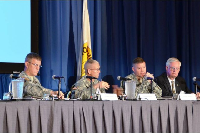 (Left to right) Brig. Gen. James E. Rainey, director, Mission Command Center of Excellence; Maj. Gen. Jeffrey L. Bailey, G-3, Forces Command; Lt. Gen. David G. Perkins, commander, Combined Arms Center; and retired Brig. Gen. Thomas R. Goedkoop, discuss implementing Mission Command across the Army during the Association of the U.S. Army Mission Command Symposium in Kansas City, Mo., June 18, 2013.