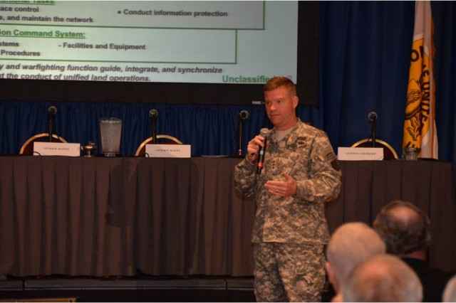 """Lieutenant General David G. Perkins, commander, Combined Arms Center, Fort Leavenworth, Kan., leads a discussion on """"Implementing Mission Command across the Army"""" during the Mission Command Symposium, Kansas City, Mo., June 18. There were approximately 200 officers, NCOs, retired officers, industry representatives, and foreign military personnel in attendance at this event sponsored by the Association of the United States Army."""