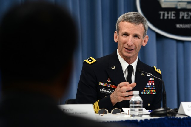 Maj. Gen. Howard Bromberg, Army G-1, explained how the Army would implement its plan to integrate women into all areas of military service, during a press conference at the Pentagon, June 18, 2013.