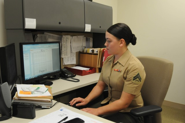 Cpl. Jessica Manning, an administrative specialist for the USMC Detachment on Fort Benning, is the only female Marine serving in the unit.