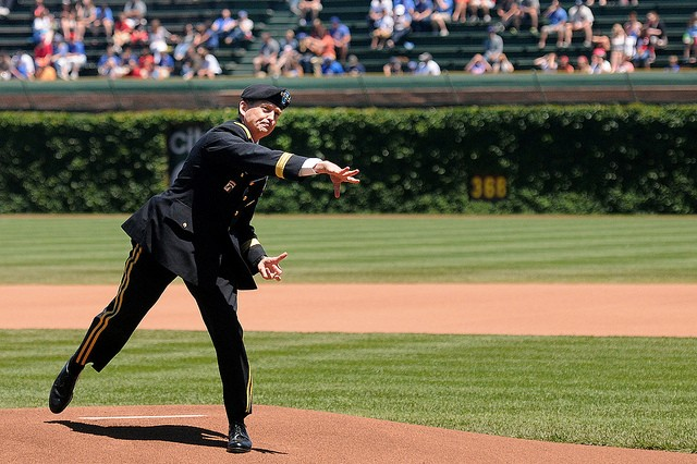 Gen. Daniel B. Allyn, FORSCOM Commanding General, throws a strike at Wrigley Field for the 238th #ArmyBday game with the Chicago Cubs, June 14, 2013.