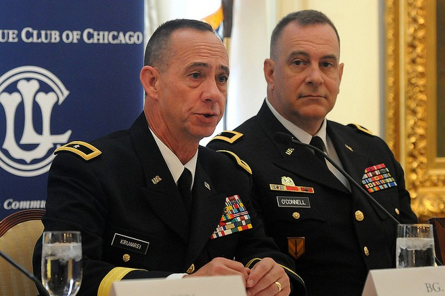 Illinois National Guard Adjutant General, Brig. Gen. Daniel Krumrei, answers a question during the Army 'Soldier for Life' Panel, while Joint Munition Command CG, Brig. Gen. Kevin O'Connell observes on June 14, 2013, at the Union League Club of Chicago. #ArmyBday