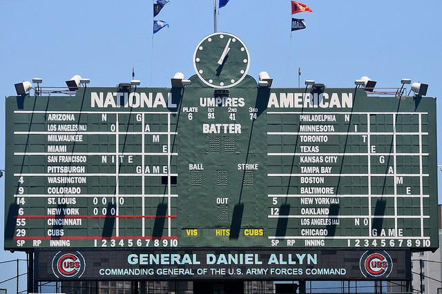 The Chicago Cubs welcome Gen. Allyn on their nostalgic scoreboard at Wrigley Field, during the 238th #ArmyBday game, June 14, 2013.