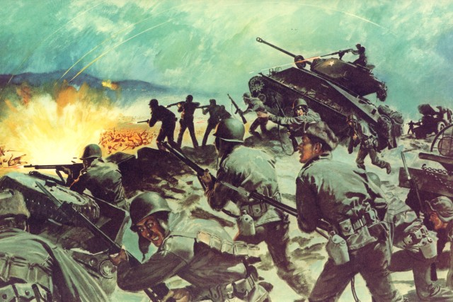 Soldiers engage in heavy fighting outside Seoul, South Korea, in March 1951, about the same time and place where Pfc. Leonard M. Kravitz earned his Medal of Honor.