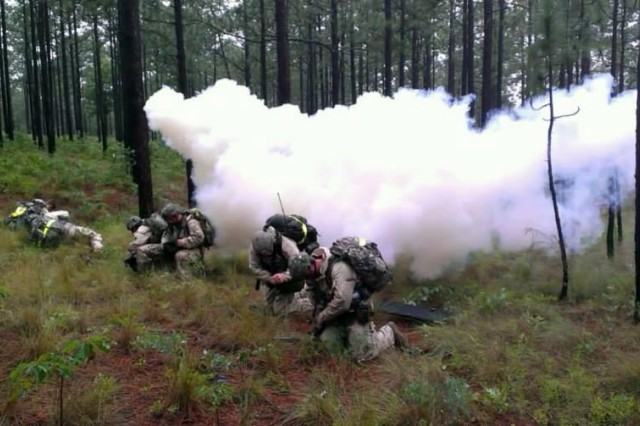 "FORT BRAGG, N.C. "" Paratroopers assigned to 1st Squadron, 73rd Airborne Cavalry Regiment, 2nd Brigade Combat Team, 82nd Airborne Division react to a simulated gas attack June 7, 2013, during their annual Spur Ride.  Soldiers that successfully complete the Spur Ride are awarded the coveted silver spurs, a symbol of an expert Soldier and cavalryman."