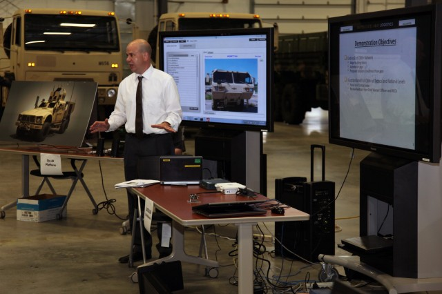 Ken Beam, logistics management specialist for LIA, provided a demonstration of the condition based maintenance plus pilot program June 19. This program will provide Soldiers, involved in maintaining equipment, the ability to better troubleshoot problems and provide preventative maintenance while reducing costs.