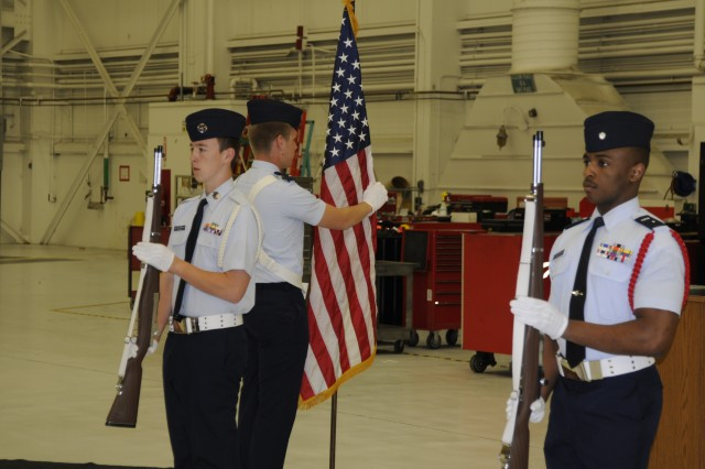 A Civil Air Patrol Color Guard posts the national colors during Alaska Airlines' Army Birthday and Flag Day event, June 14.