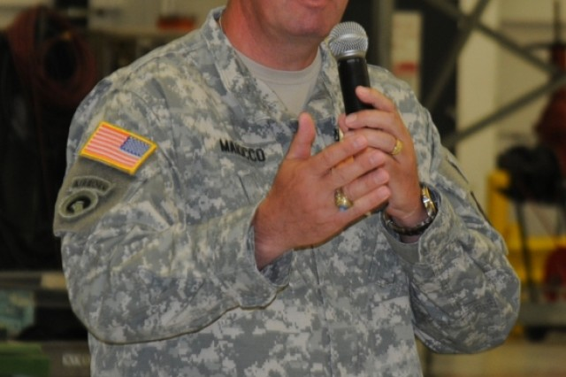 Col. Fred Maiocco, deputy commander of the 364th Expeditionary Sustainment Command, speaks at the Army Birthday and Flag Day event, June 14.