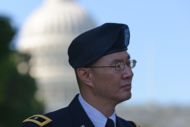 Brig. Gen. (Dr.) John M. Cho, deputy chief of staff for Operations (G-3/5/7), Army Medical Command, addresses the issue of post-traumatic stress disorder and traumatic brain injury, on Capitol Hill, June 22, 2013.