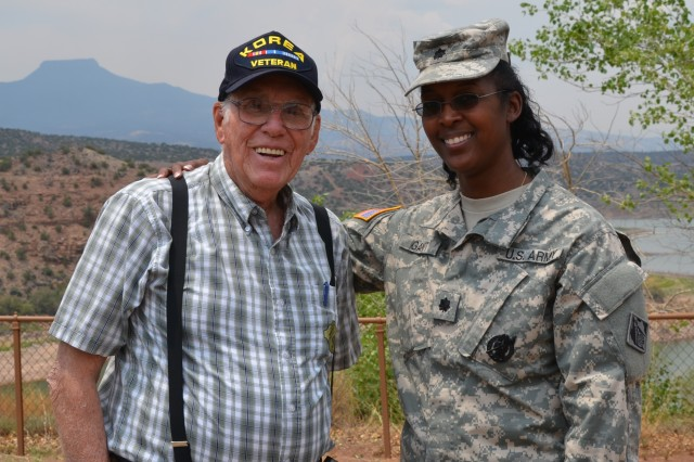 Albuquerque District Commander Lt. Col Gant shares a moment with former Abiquiu Lake Operations Manager Jimmy Hurt after presenting him with an Albuquerque district coin for all of his dedication and hard work, June 13, 2013.