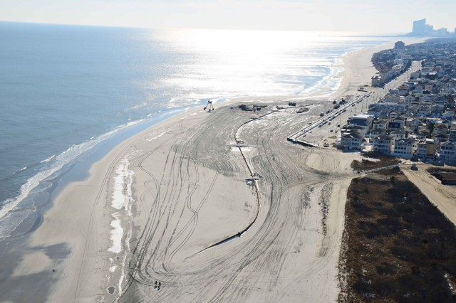 The U.S. Army Corps of Engineers Philadelphia District pumped 667,000 cubic yards of sand onto the beach at Brigantine, N.J. Work was completed in February of 2013.