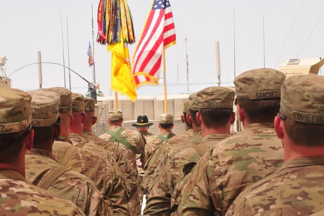 Soldiers of 2nd Squadron, 1st Cavalry Regiment, 4th Stryker Brigade Combat Team, 2nd Infantry Division, stand in formation before the unit's color casing ceremony June 13 on Forward Operating Base Apache in the Zabul province of Afghanistan. The squadron is the first subordinate unit of 4th SBCT, 2nd Infantry Division, to case its colors in preparation for redeployment.  (U.S. Army photo by Sgt. Kimberly Hackbarth, 4th SBCT, 2nd Infantry Division Public Affairs Office)