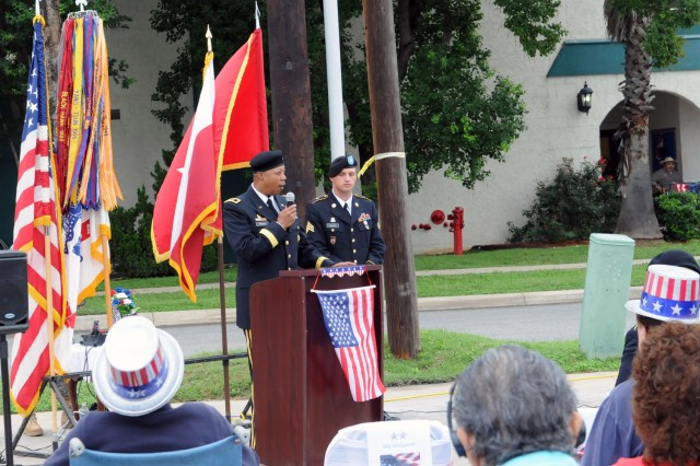 "SAN ANTONIO - Maj. Gen. Adolph McQueen Jr., guest speaker at the Retama Manor Nursing Center, addresses the audience June 14 at a Flag Day Ceremony in Alamo City. ""Today we celebrate Flag Day and the Army's 238th birthday "" both in recognition of our country, and our military service,"" said McQueen. His speech embodied this year's Army birthday theme:  service to the nation, strength for the future. A team of Fort Sam Houston Army Soldiers raised the inaugural Old Glory up the centers' newly installed flag pole in commemoration of the more than 30 Armed Forces veterans who reside at Retama Manor. McQueen is the deputy commanding general for support, U.S. Army North (Fifth Army)."
