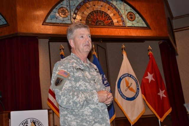 "Maj. Gen. Tim Crosby, program executive officer for aviation, addresses the status of Army aviation programs during the Association of the U.S. Army ""Update for Industry."""