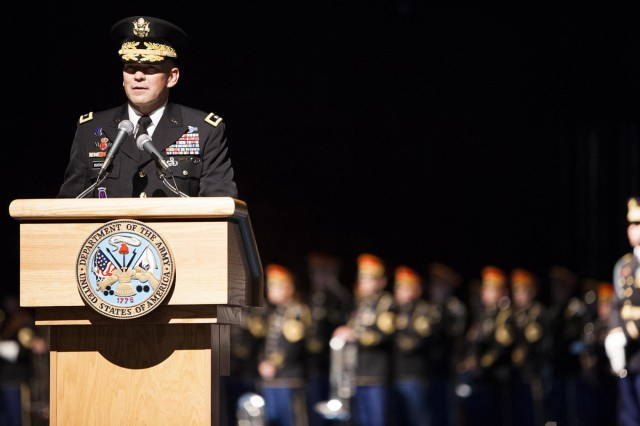 """Incoming Commander of Joint Force Headquarters-National Capital Region and U.S. Army Military District of Washington Maj. Gen. Jeffrey S. Buchanan speaks during a change of command ceremony in Joint Base Myer-Henderson Hallsh""""ôs Conmy Hall June 24, 2013."""