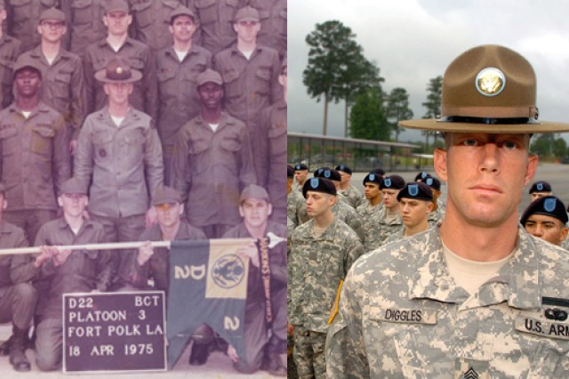 Army drill sergeants, then and now, still mentor and train Soldiers how to be Soldiers. (Photo credits: left to right - Zach Morgan, Fort Polk Guardian staff writer and the U.S. Army)
