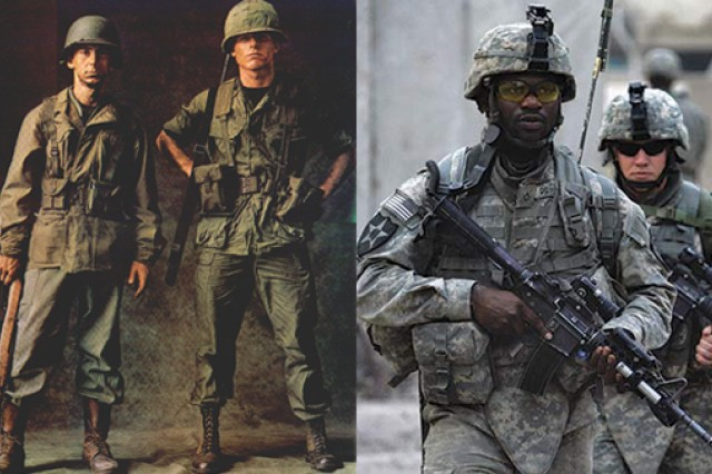 Army uniforms then and now - from olive green shade 107 combat uniforms to gray, tan and sage ACUs. (Photo credits: left to right - Soldier Systems Daily and David Furst - AFP/Getty Images)