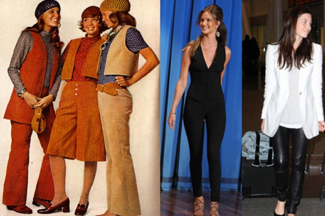 Fashion then and now - from bell bottoms to skinny leg pants. (Photo credits: left to right - Simplicity and Style, Inc.)