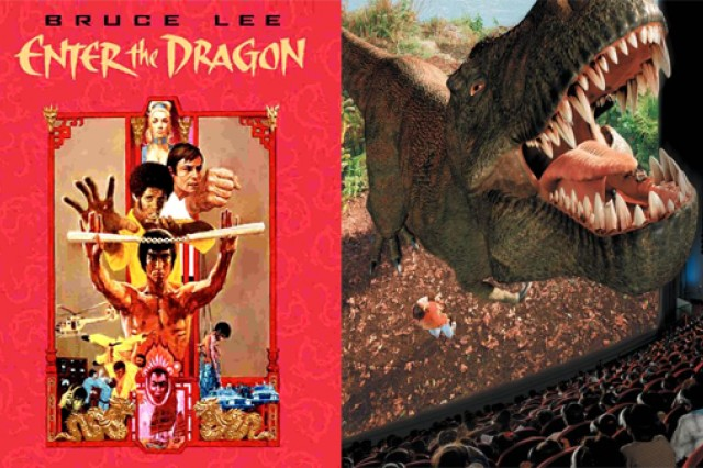 Movies then and now - from 2-D to 3-D. (Photo credits: left to right - Warner Bros. Entertainment, Inc. and IMAX Theater)