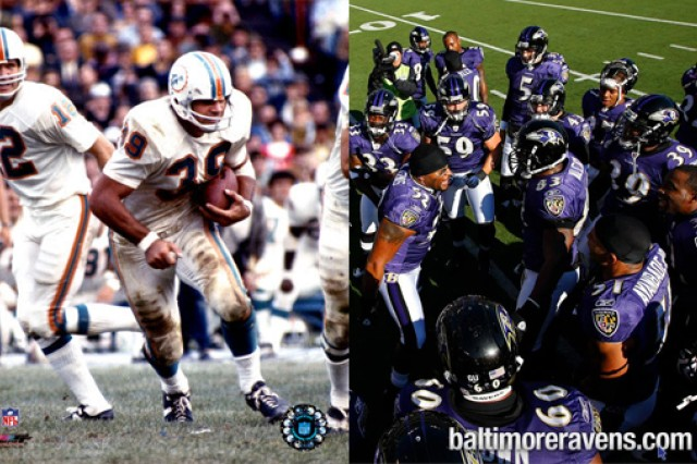 Sports then and now - 1970s Miami Dolphins and 2010s Baltimore Ravens. (Photo credits: left to right - NFL Enterprises LLC and baltimoreravens.com)