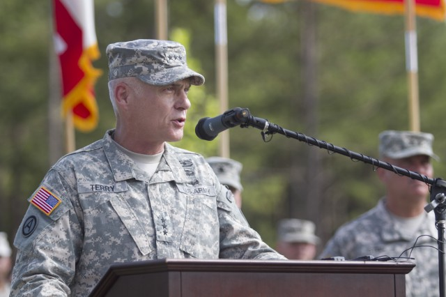 SHAW AIR FORCE BASE, S.C. (June 25, 2013) - Lt. Gen. James L. Terry, commanding general Third Army/ARCENT, addresses the local leadership, Third Army Soldiers, Families and civilians for the first time during a change of command ceremony held at Patton Hall's Lucky Park. (Photo by Sgt. 1st Class Nicholas Salcido, Third Army/ARCENT Public Affairs.)