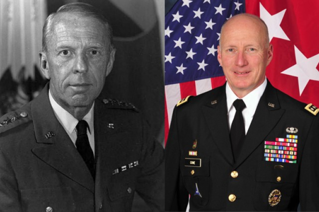 TRADOC commanding generals then and now - from Gen. William E. DePuy to Gen. Robert W. Cone, the vision remains the same. (U.S. Army photos)