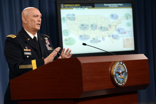 Chief of Staff of the Army Gen. Ray Odierno announced, June 25, 2013, that 10 brigade combat teams based in the United States are slated to be reorganized by the end of fiscal year 2017. The move will reduce the number of BCTs in the Army from 45 to 33.
