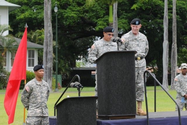 "U.S. Army Pacific, Deputy Commanding General, Army National Guard, Maj. Gen. Gary M. Hara spoke during his Flying V. Soldiers from USARPAC performed a ""Flying V"" ceremony in honor of Hara. The Flying V Ceremony traditionally welcomes or honors senior Army officials when they assume duties, depart or retire from an Army Command. The term ""Flying V"" refers to the way the colors are posted during the ceremony, which is V shaped."