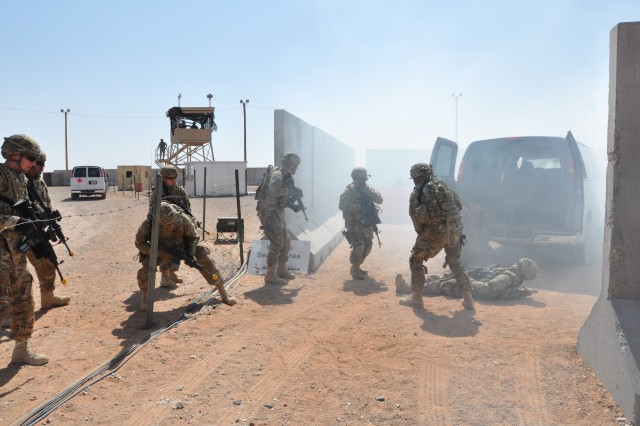 Airmen from Air Force Class 14 respond to a simulated vehicle improvised explosive device detonation during base defense operations training conducted by 2nd Battalion, 363rd Armored Regiment, Task Force Black Scorpion, 5th Armored Brigade, Division West at McGregor Range, N.M., June 1. (Photo by Capt. Sam Ku, 2nd Battalion, 363rd Regiment, Task Force Black Scorpion, 5th Armored Brigade, Division West)