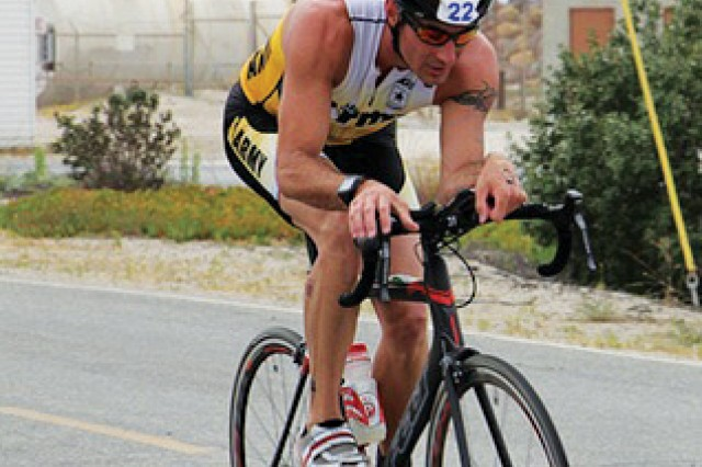 Josh Horsager, 75th Ranger Regiment, competed in his first All-Army triathlon June 1 at Naval Base Ventura County, Calif.